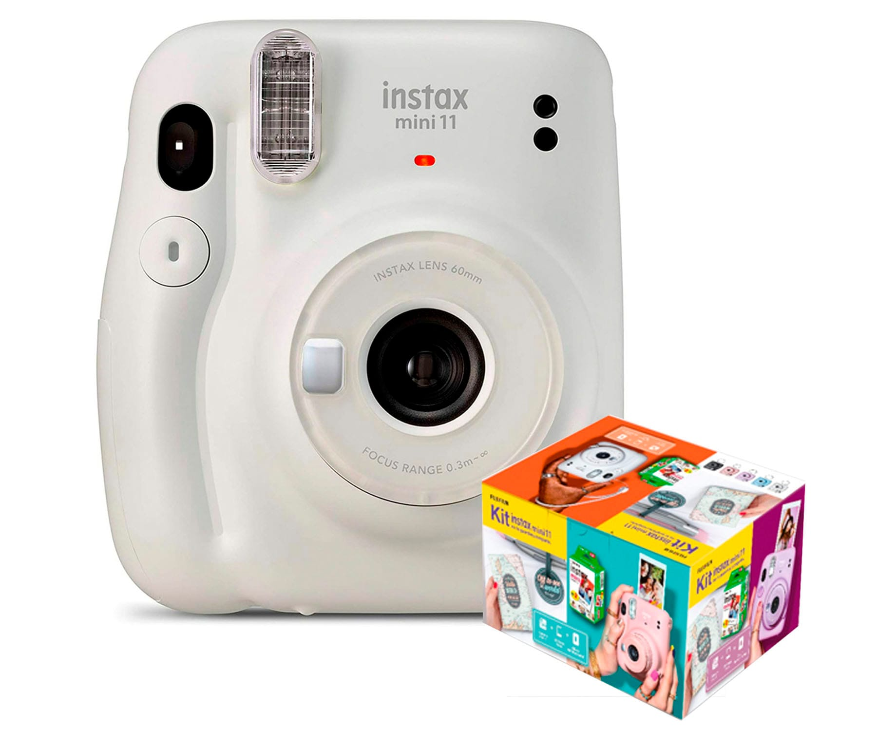 FUJIFILM INSTAX MINI 11 BLANCO HIELO CÁMARA INSTANTÁNEA KIT MR. WONDERFUL