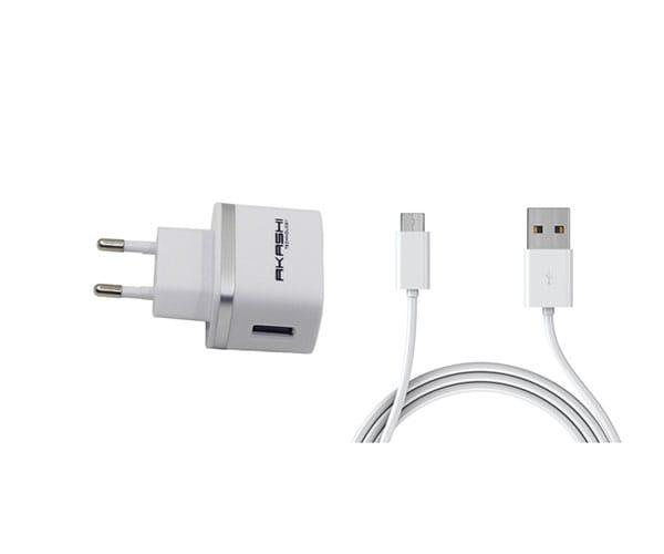 AKASHI CARGADOR MICRO USB BLANCO CON CABLE