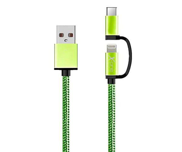 X-ONE CDL1000 VERDE CABLE TRENZADO DE NYLON 2 EN 1 USB 2.0 A LIGHTNING + MICROUSB - CDL1000 VERDE