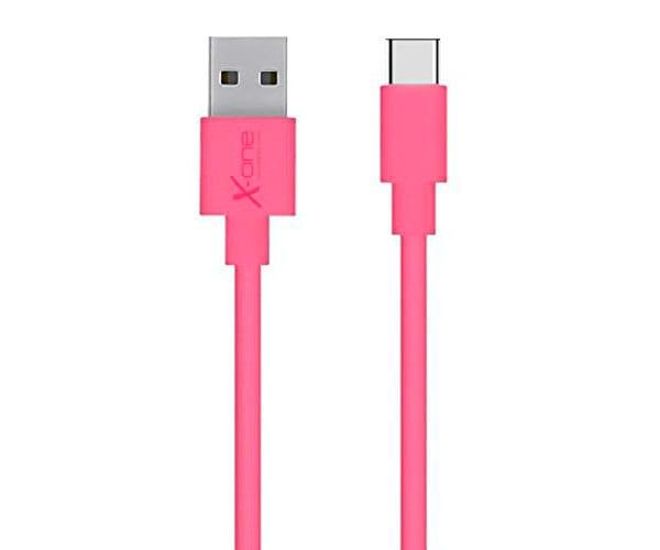 X-ONE CPC1000 ROSA CABLE CONECTOR PLANO CON PUERTO USB TIPO C A USB 2.0 TIPO A - CPC1000 ROSA