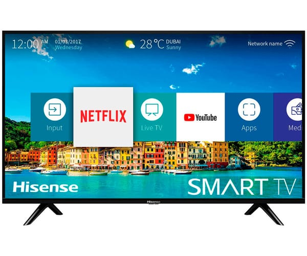 HISENSE H40BE5500 TELEVISOR 40'' LCD DIRECT LED FULLHD 700Hz SMART TV WIFI CI+ HDMI USB REPRODUCTOR MULTIMEDIA