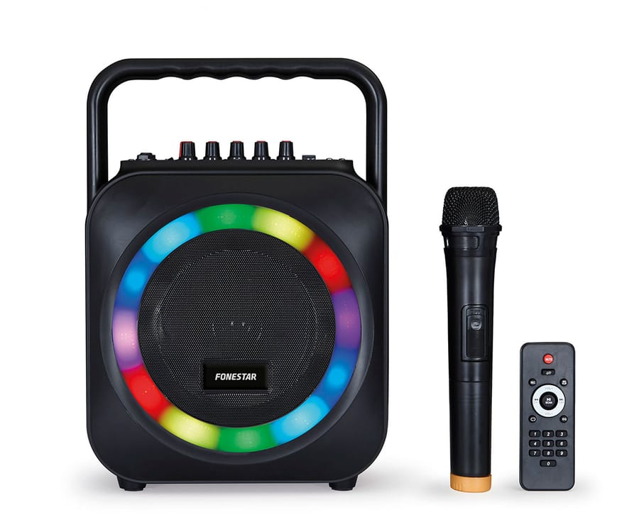 FONESTAR BOX-35LED ALTAVOZ PORTÁTIL KARAOKE CON LUCES LED, BLUETOOTH, USB Y SD