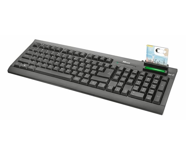 TRUST TECLADO NEGRO MULTIMEDIA CON LECTOR DE DNI INTEGRADO COMPATIBLE CON WINDOWS CONEXIÓN A TRAVÉS DE PUERTO USB