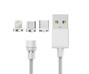 X-ONE CMU1000 PLATA CABLE MAGNÉTICO 3 EN 1 USB 2.0 A LIGHTNING + USB TIPO C + MICRO USB