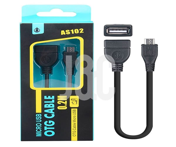 CABLE NEGRO CONECTOR OTG microUSB MACHO A USB TIPO A HEMBRA 20cm