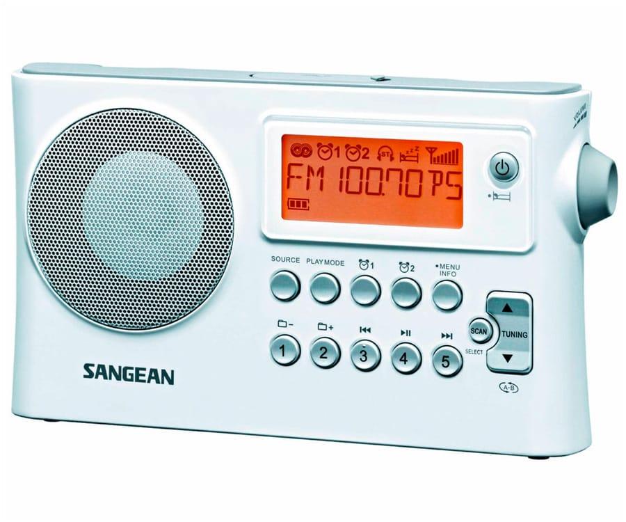 SANGEAN PR-D14 BLANCO RADIO DIGITAL PORTÁTIL FM AM USB PANTALLA LCD ALARMA BATERÍA