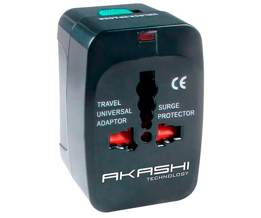 AKASHI ALTWP200BLK ADAPTADOR UNIVERSAL DE VOLTAJE CON 2 USB COMPATIBLE CON 150 PAÍSES