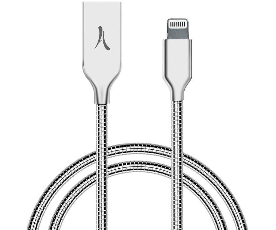 AKASHI ALTCABLAMFISIL PLATA CABLE USB A LIGHTNING 1 METRO
