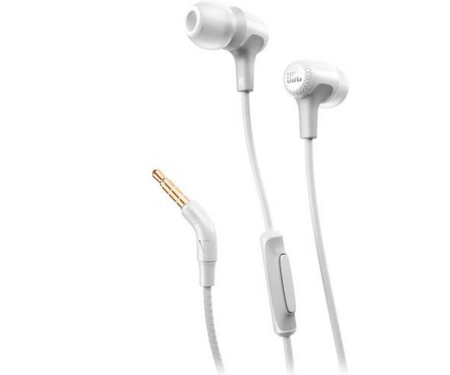JBL E15 BLANCO AURICULARES IN-EAR CON MICRÓFONO CABLE DE TEJIDO SIN ENREDOS CONECTOR EN 90º