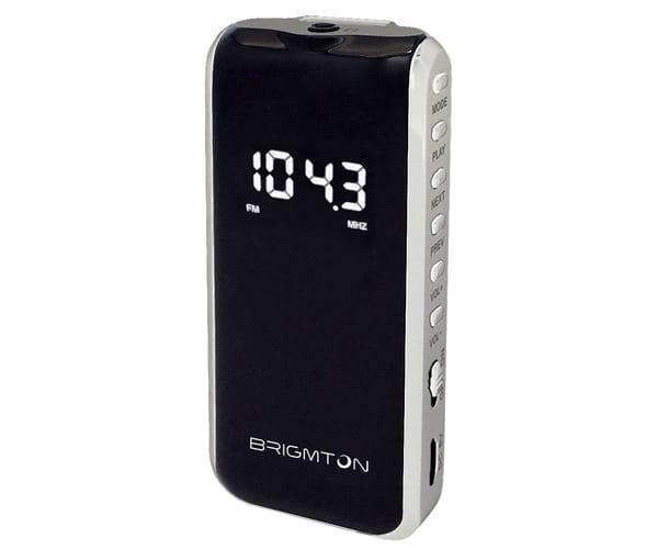 BRIGMTON BT124 BLANCO RADIO FM/SD/MP3 PORTÁTIL 40 PRESINTONIAS CON AURICULARES