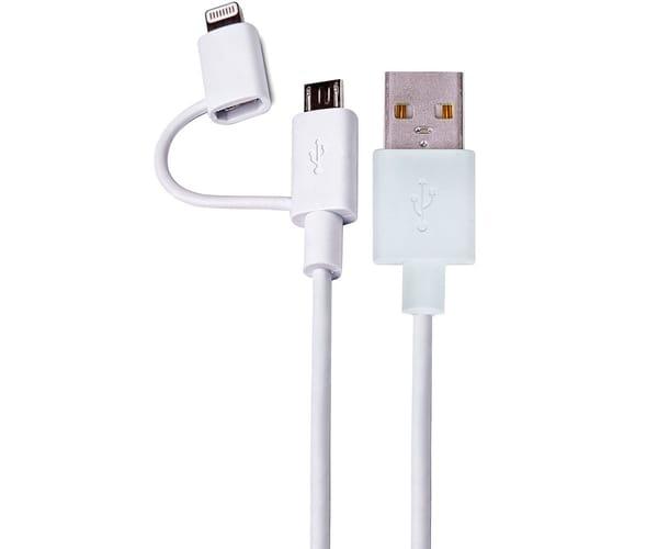 DCU CABLE BLANCO CONEXIÓN LIGHTNING Y MICRO USB A USB 2.0 DE 1M