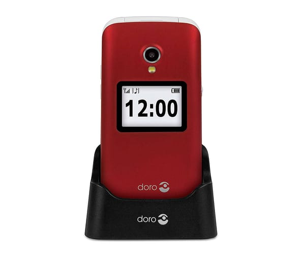 DORO 2424 ROJO BLANCO MÓVIL SENIOR 2.4'' PANTALLA DE NOTIFICACIONES CÁMARA 3MP BLUETOOTH RADIO FM MICRO SD INCLUYE BASE DE CARGA